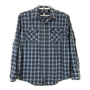 Timberland Blue Plaid Shirt Convertible Sleeves L